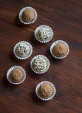 Assorted homemade dark chocolate truffles Royalty Free Stock Image