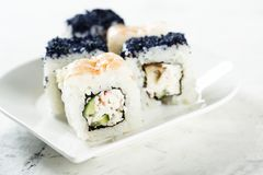 Assorted homemade sushi with shrimp and cucumber Royalty Free Stock Photography
