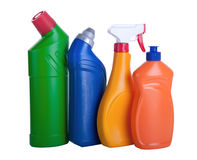 Assorted household cleaning products. White background Royalty Free Stock Photo