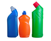 Assorted household cleaning products. White background Stock Images