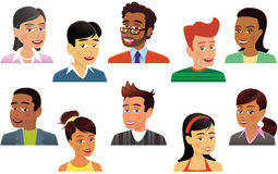 Assorted human heads. Ten different and unique human head and shoulder illustrations. E.P.S. 10 vector file included with image,  on white Stock Photos