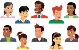 Assorted human heads Stock Photos