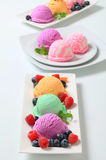 Assorted ice cream. With fresh fruit Stock Images