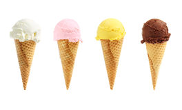 Assorted ice cream in sugar cones stock photography