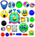 Assorted icons and buttons. A small collection of colored icons and buttons for different needs Stock Image