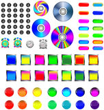 Assorted icons and buttons. A small collection of colored icons and buttons for different needs Royalty Free Stock Images