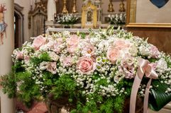 Floral decorations at the wedding ceremony. Assorted Ideas for Florals used in the wedding ceremony either inside. Floral arrangements, Flower arrangements and Royalty Free Stock Images