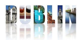 Dublin Ireland reflected collage on white. Assorted images of Dublin Ireland in collage isolated on white stock image