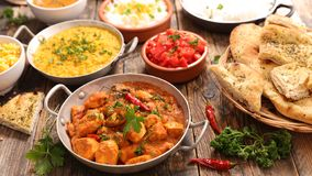 Assorted india food cuisine. On wood royalty free stock images