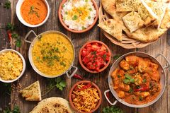 Assorted india food cuisine royalty free stock photography