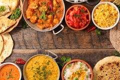 Assorted indian curry dish stock photo
