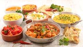 Assorted indian food stock photography