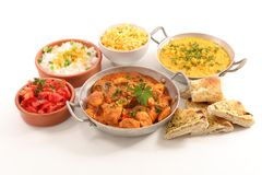 Assorted indian food. On white Royalty Free Stock Photography