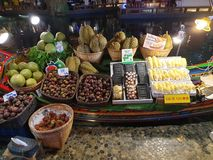 Assorted indoor fruit stand boat stock images