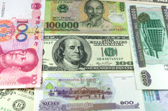 Assorted international paper money close up Royalty Free Stock Photo