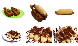 Assorted Isolated Banana Snack. Assorted Steamed Banana, isolated, served on a white / green decorative plate Stock Image