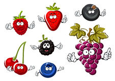 Assorted isolated fresh cartoon berries Royalty Free Stock Photography