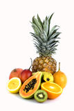 Assorted isolated fruit royalty free stock images