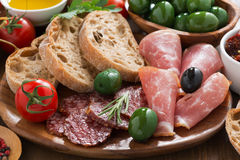 Assorted Italian antipasti - deli meats, olives and bread Stock Images