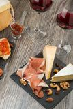Assorted Italian antipasti on rustic background Royalty Free Stock Photography