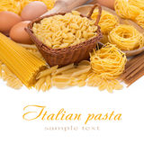 Assorted Italian pasta and eggs, isolated on white Stock Photography