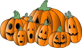 Assorted jack-o-lanterns vector illustration