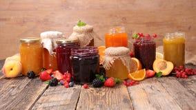 Assorted jam and marmalade Stock Photo