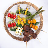 Assorted Japanese Kushiyaki, Skewered and Grilled Meat Royalty Free Stock Images