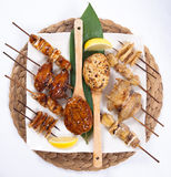 Assorted Japanese Kushiyaki, Skewered and Grilled Meat Stock Image