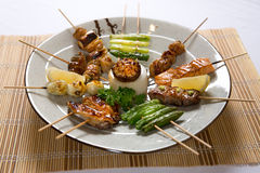 Assorted Japanese Kushiyaki, Skewered and Grilled Meat Stock Photography