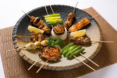 Assorted Japanese Kushiyaki, Skewered and Grilled Meat Royalty Free Stock Image
