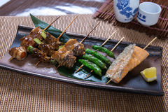 Assorted Japanese Kushiyaki, Skewered and Grilled Meat Royalty Free Stock Photography