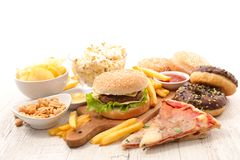 Assorted junk food stock photos
