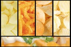 Assorted Junk Food Collage Background. Consisting of the Most Common Types Royalty Free Stock Images