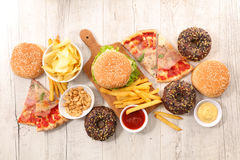 Assorted junk food Stock Photography