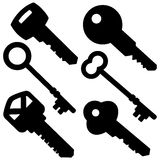 Assorted Key Silhouettes Stock Photography