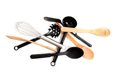 Assorted kitchen utensils on a white background Stock Photography