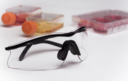 Assorted Lab Supplies. Safety glasses with cell culture flasks and cell culture plate Royalty Free Stock Photos