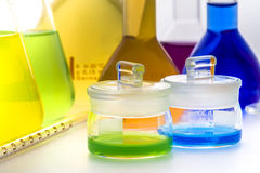 Assorted laboratory glassware equipment Stock Photos