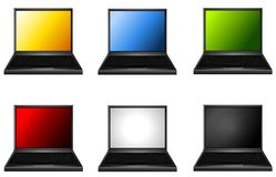 Assorted Laptops With Coloured Screens Royalty Free Stock Images