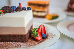 Assorted large pieces of different cakes: three chocolate, carrot, strawberry, chocolate. Cakes are decorated with berries royalty free stock photos