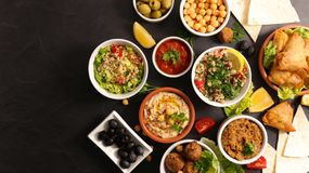 Assorted of lebanese food royalty free stock photos