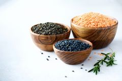 Assorted lentils. Marble, red and black raw organic lentils in wooden bowls with rosemary on grey concrete background. Copy space Stock Image