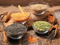 Assorted of lentils, split pea Stock Image
