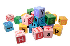 Assorted letter play blocks Stock Photo