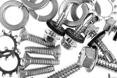 Assorted lock washers and screws Stock Image