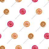 Assorted lollipop spiral candies seamless Royalty Free Stock Photos
