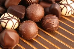 Assorted luxurious chocolates stock photo