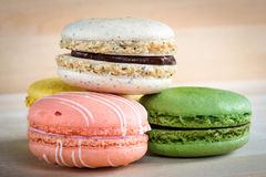 Assorted macaron with wooden Royalty Free Stock Images
