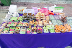 Assorted Malay cakes and sweet food sold at street stall Royalty Free Stock Image